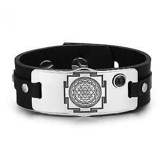 Sri Yantra Chakra magiske energi Amulet svart simulert Onyx justerbar Lær armbånd