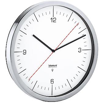 Radio-controlled clock wall clock radio matt stainless steel watch with clear glass of Blomus model Chrono