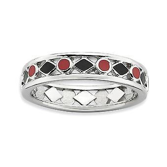 4,5 mm argento smalto nero rodiato impilabile espressioni lucidato anello smaltato rosso nero - misura anello: 5