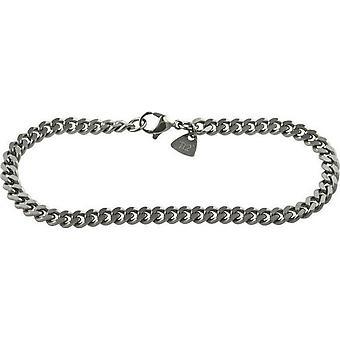 Ti2 Titanium flade kantstenen armbånd - Sølv