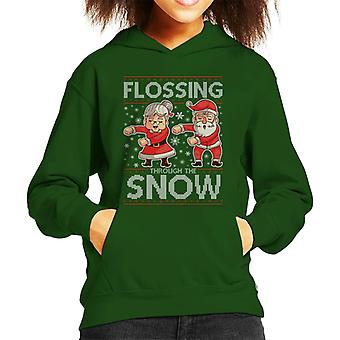 Flossing Through The Snow Santa Christmas Knit Pattern Kid's Hooded Sweatshirt