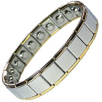 MPS® PYTHON ampliar ancho pulsera magnética con bordes de oro (sin cierre)
