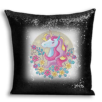 i-Tronixs - Unicorn Printed Design Black Sequin Cushion / Pillow Cover for Home Decor - 5