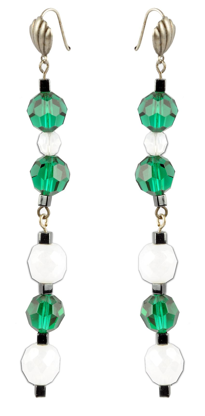 Waooh - jewelry - WJ0725 - earrings with Rhinestone Swarovski green white black - mount silver