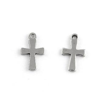Packet 10 x Silver Stainless Steel 7 x 12mm Cross Charm/Pendant ZX20320