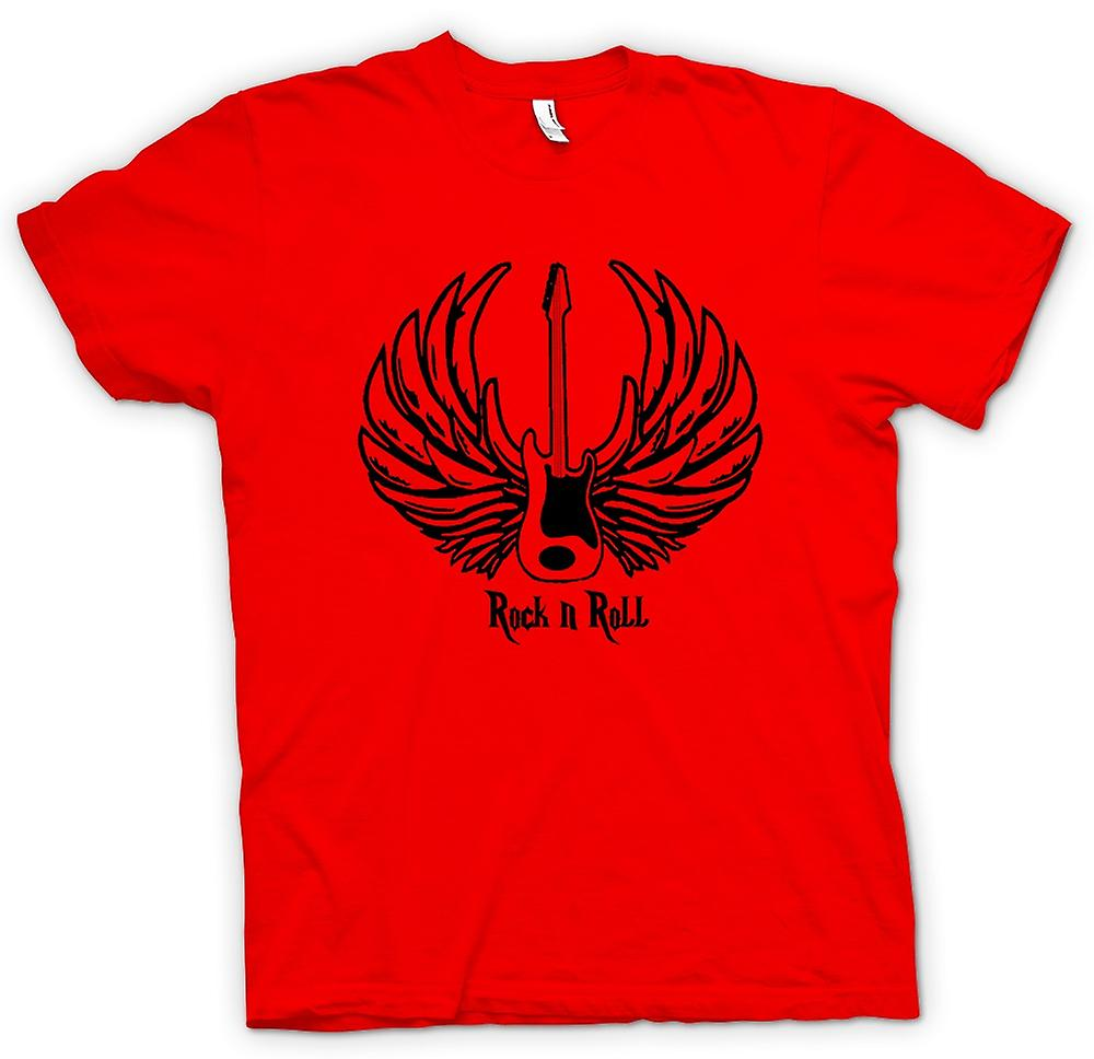 Mens T-shirt-Rock n Roll - Gitarre Wings - Musik