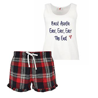 Best Auntie Ever Ever Ever The End Ladies Tartan Frill Short Pyjama Set Red Blue or Green Blue