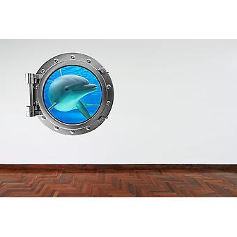 Full Colour Dolphin Porthole V2 Wall Sticker