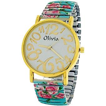TOC Ladies Girl Blue Flowery Expander Stretchy Bracelet Strap Dress Watch TOC159