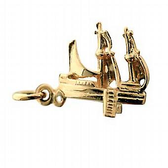 9ct Yellow Gold Solid Charm Pirate Schooner