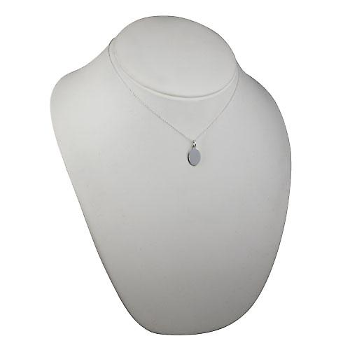 Silver 16x11mm plain oval Disc with a rolo chain