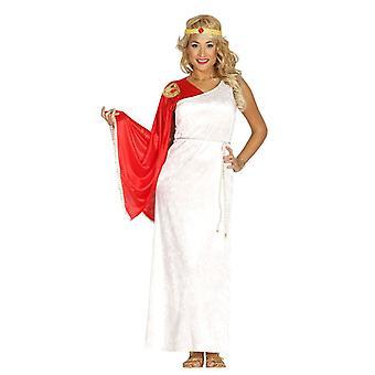 Womens Red & White Roman Goddess Fancy Dress Costume