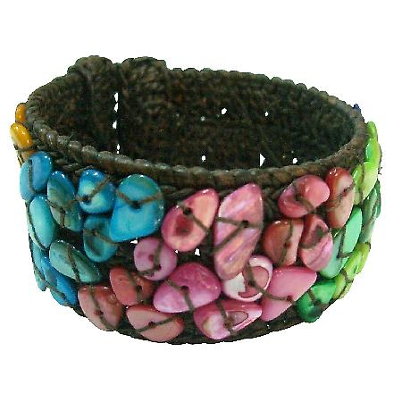Stylish Trendy cotton cuff Bangle Multicolor Nuggets Bracelet
