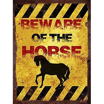 Vintage Metal Sign di parete - fate attenzione del cavallo