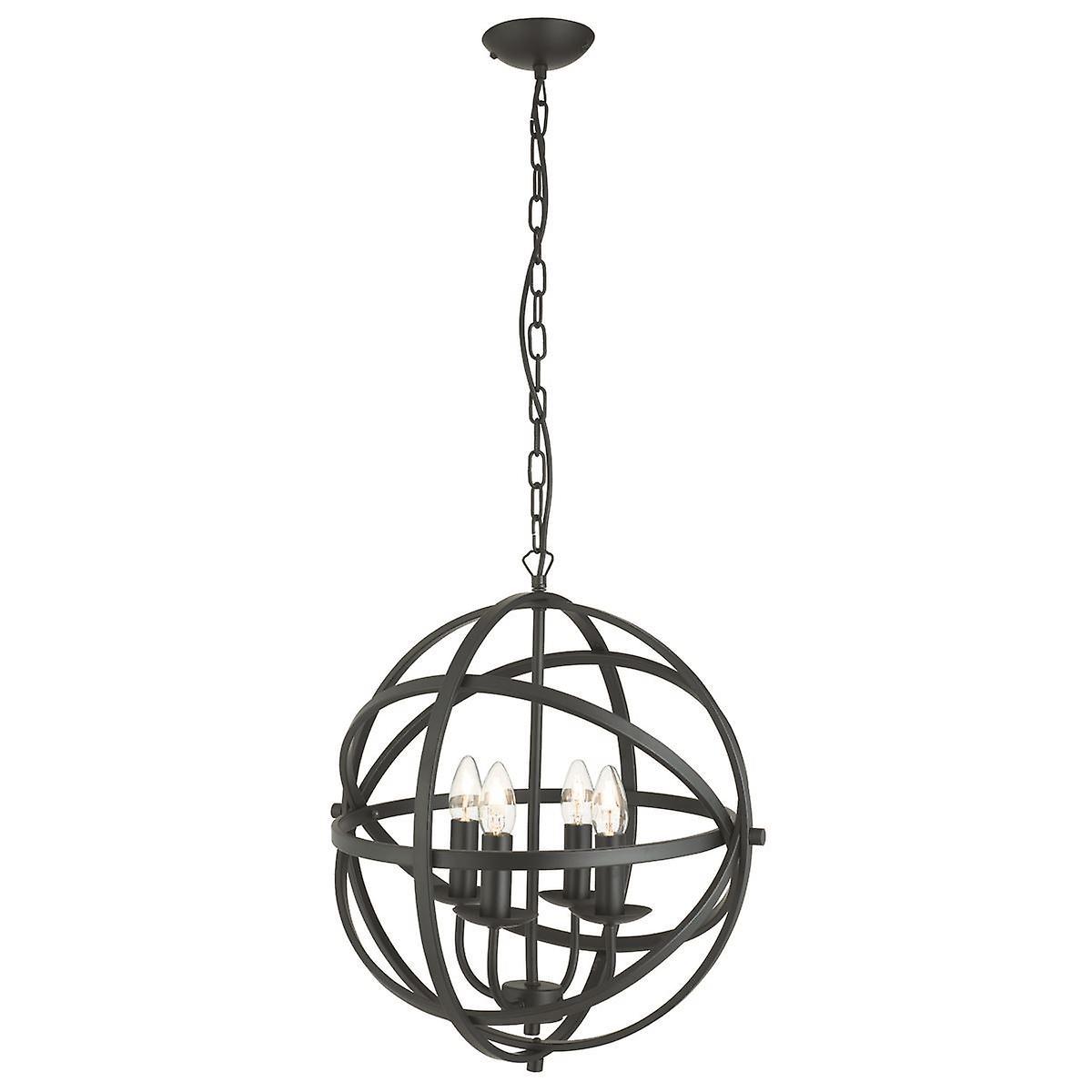 Orbit Matt noir Four Light Lantern Pendant - Searchlight 2474-4BK