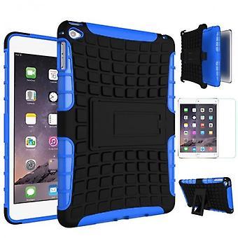 För Apple iPad mini 5 7,9 2019 hybrid utomhus case blå väska + 0.3 H9 skyddsglas