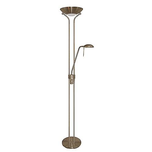 Searchlight 4329AB Mother And Child Antique Brass Halogen Floor Stand Double Dimmer