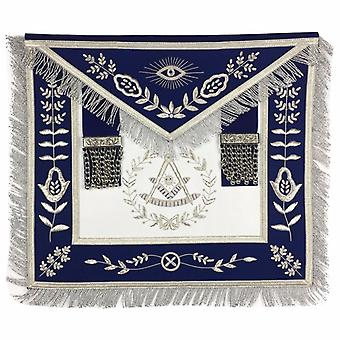 Masonic Blue Lodge Past Master Silver Handmade Embroidery Apron Blue