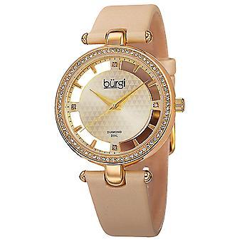 New Women's Burgi BUR104YG Swiss Quartz Diamond Gold-tone Satin Strap Watch