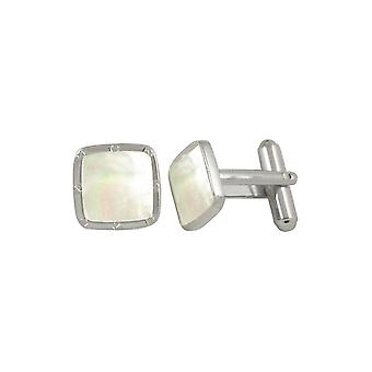 Eternal Collection Moonlight Madre di Pearl Square Silver Tone Cufflinks