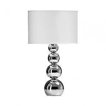 Premier Home cameo touch tafel lamp, verchroomde stof, wit