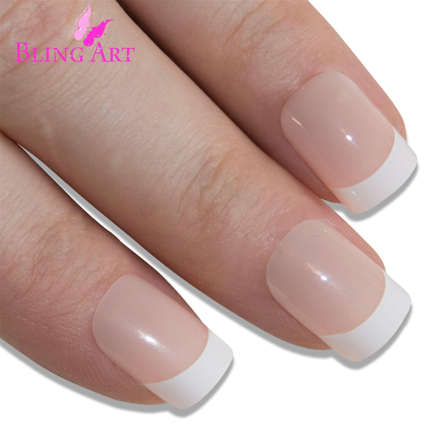 False nails by bling art white french manicure fake medium tips with glue