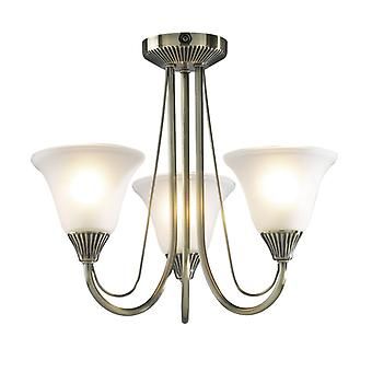 Boston 3 Light Semi Flush Antique Brass Complet avec verre