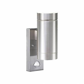 2 Light Outdoor Cylinder Up / Down Wall Light Aluminium With Sensor Ip54