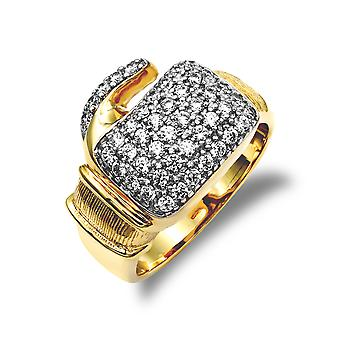 Jewelco London Homme Solide 9ct Jaune Or Blanc Rond Brillant Cubic Zirconia Pave Boxe Gant Novelty Ring