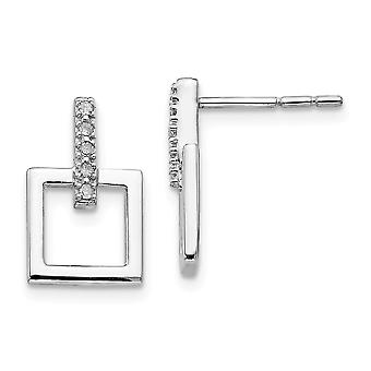Polished Gift Boxed Post Earrings Rhodium-plated White Ice .05ct. Diamond Earrings - .05 dwt