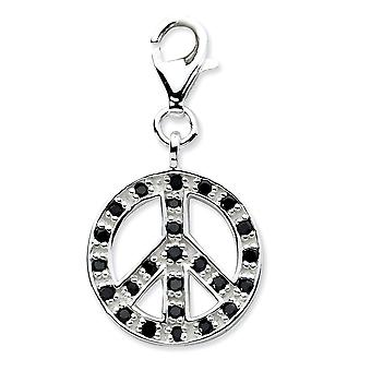 925 Sterling Silver Rhodium-plated Fancy Lobster Closure Click-on Cubic Zirconia Polished Peace Charm - Measures 27x14mm