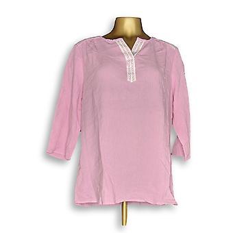 Denim & Co. Women's Top Lace Trimmed Gauze Pink A352971