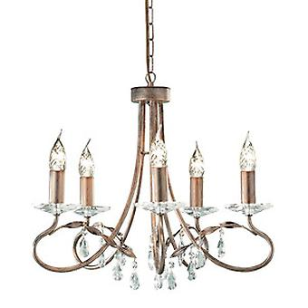Traditional 5 Arm Chandelier with Crystal Droplets