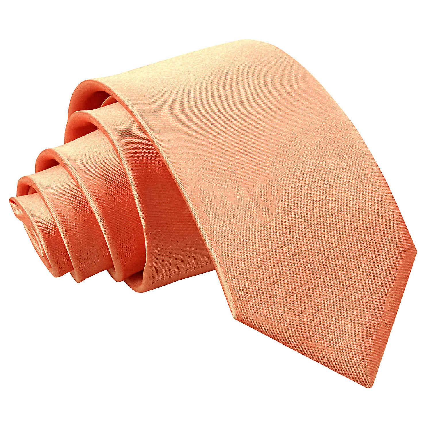 Boy's Plain Coral Satin Tie  (8+ years)