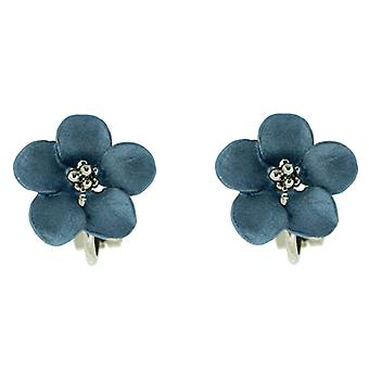 Clip On Earrings winkel Petite zilveren vergulde Matt Violet Blauwe Daisy Flower Clip o