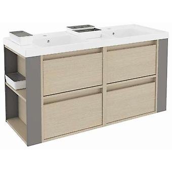 Bath+ 4 drawers cabinet Basin Resin 2 Breast Oak-Grey 120cm