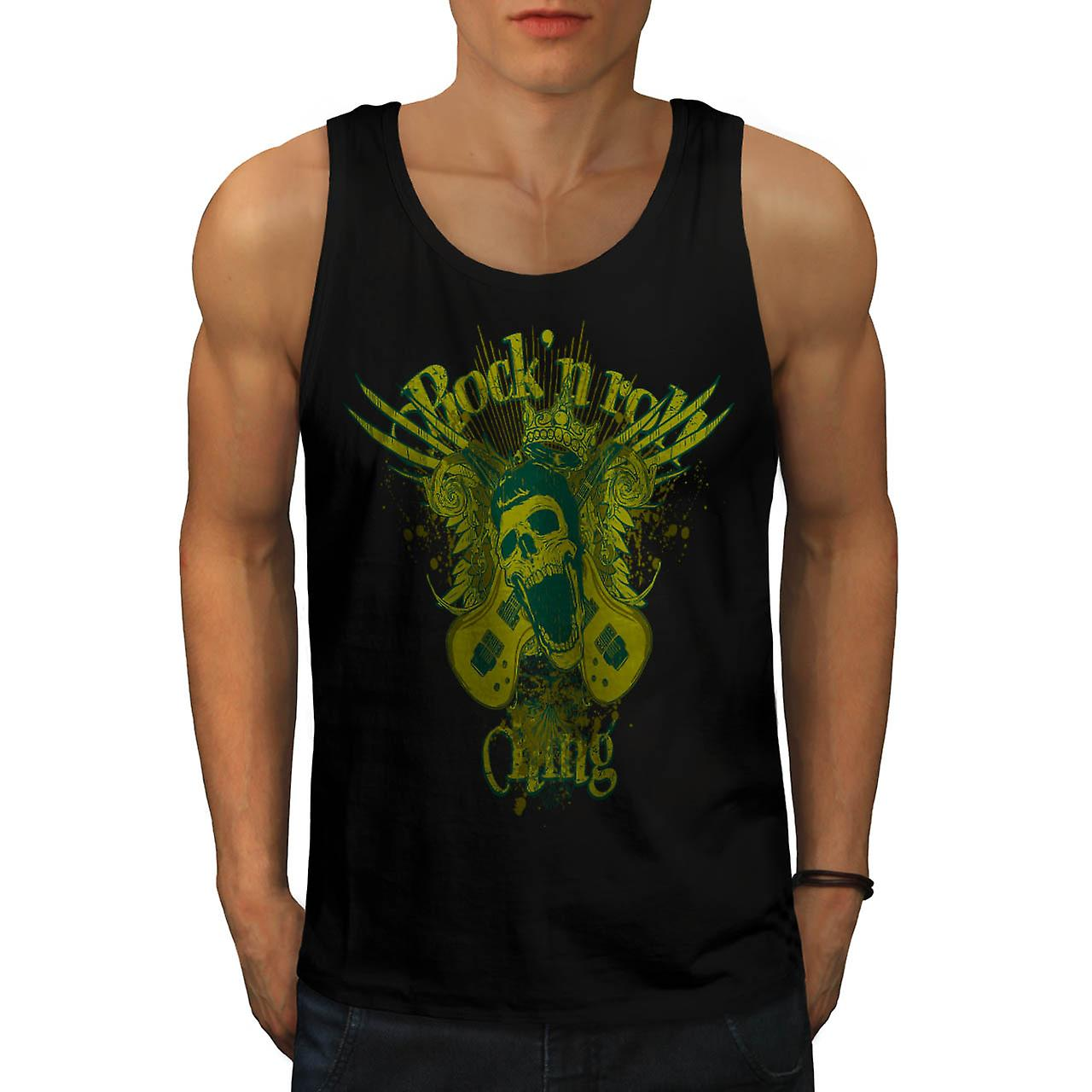 Rock and Roll King Guitar Skull Men Black Tank Top | Wellcoda