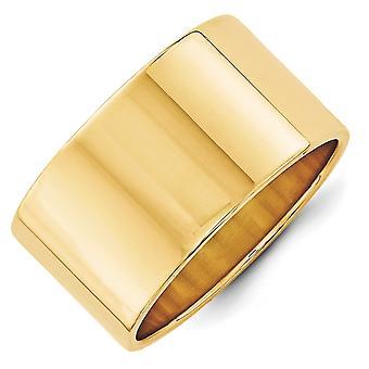 14 k イエローゴールド金 12 mm Ltw フラット バンド リング - 指輪のサイズ: 4 に 14