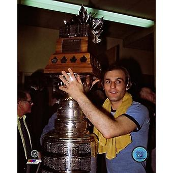 Guy Lafleur with the 1976 Stanley Cup & Conn Smythe Trophies Photo Print