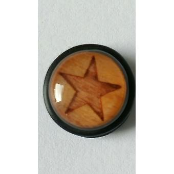 Fake Cheater Ear Plug, Earring, Body Jewellery, Wood Star