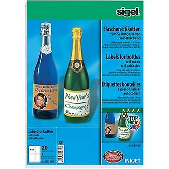 Inkjet Bottle labels Sigel DE160 DE160 80 x 120 mm Permanent 20 pc(s)