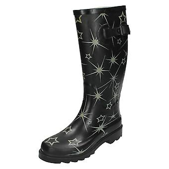 Womans Spot On Star Print Wellington Boots