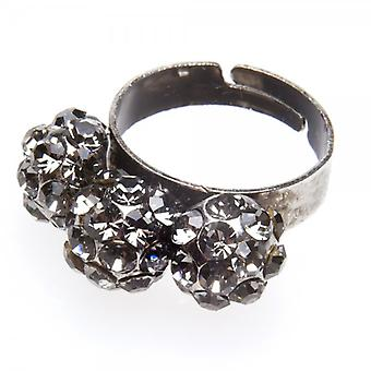 Camille Womens damer mode smycken grå justerbar Vintage Diamante eleganta tre Ball Ring