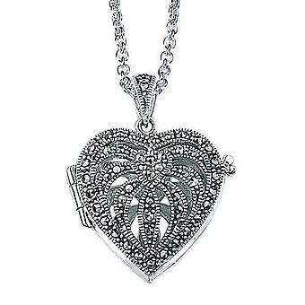925 Silver Marcasite Heart Photo Pendant Necklace
