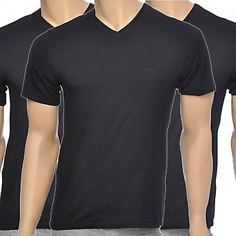 HUGO BOSS 3-Pack Cotton Classic V-Neck T-Shirt, Black, Large