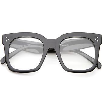 Oversize bredt tempel Flat linsen Horn Rimmed Square briller 51mm