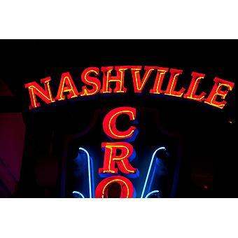 Czerwony Neon znak Nashville Crossroads Music City niższy Broadway obszar Nashville Tennessee USA Poster Print przez panoramiczne obrazy (36 x 24)