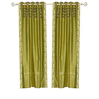 Fabricado a mano en verde oliva ojal superior Sari pura cortina Panel - pieza