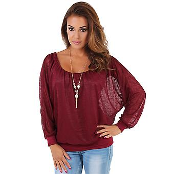 KRISP Women Oversize Loose Batwing Chiffon Blouse Kimono Top Shirt Necklace Party Work