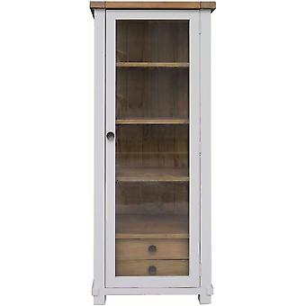 Classic Melton Reclaimed Pine Narrow Glazed Display Cabinet